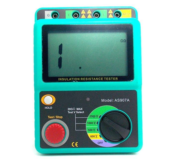 Nouveau testeur de résistance à l'isolation portable professionnel AS907A compteur de masse numérique 2500 V Megger megohmmètre voltmètre