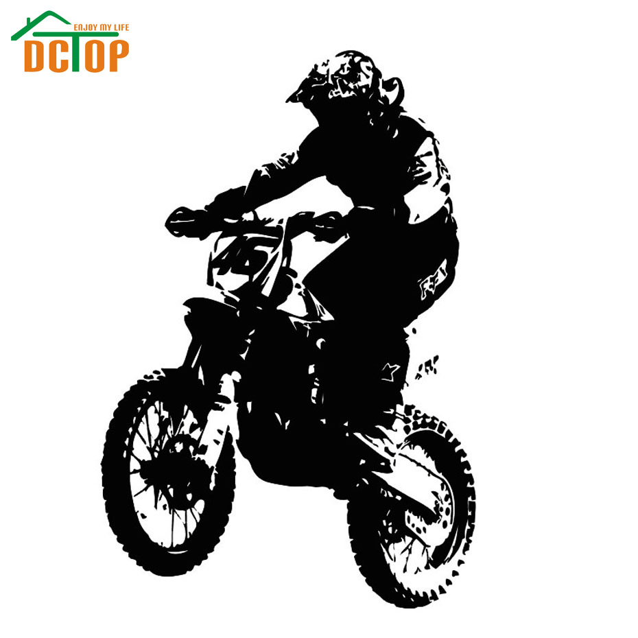 dirt bike motorcycle rider jugador silueta vinilo decoracin tatuajes de etiqueta de la pared para nios