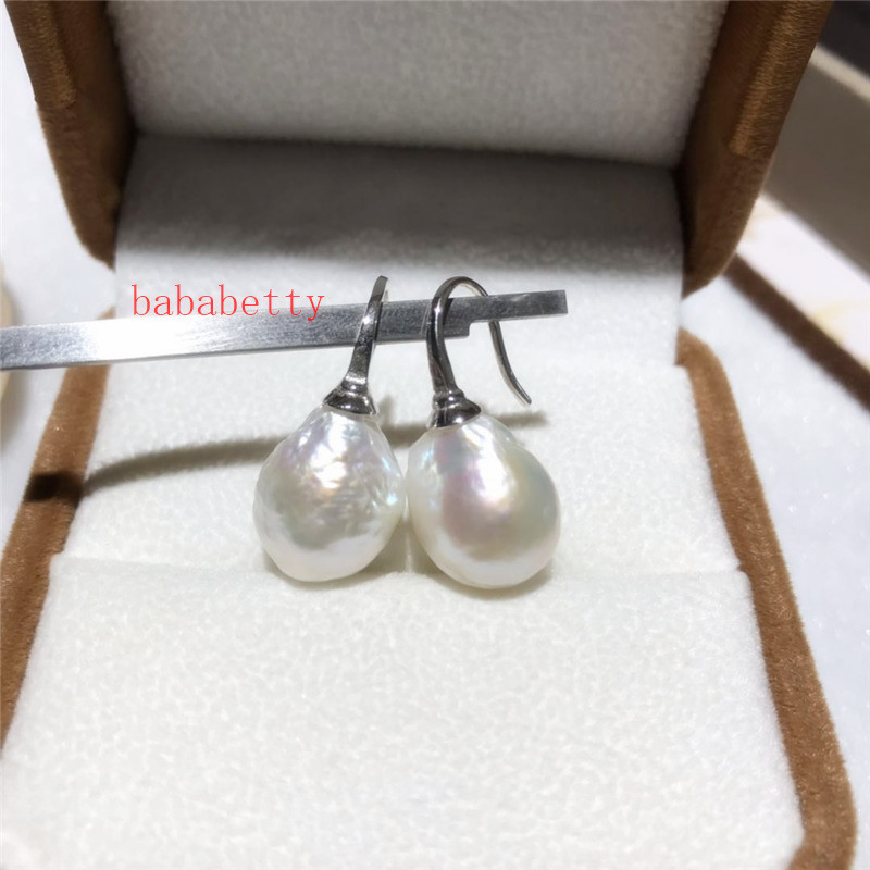 NEW Natural white   freshwater Edison pearl  size About 13X15MM 925 sterling silver  earrings hook up