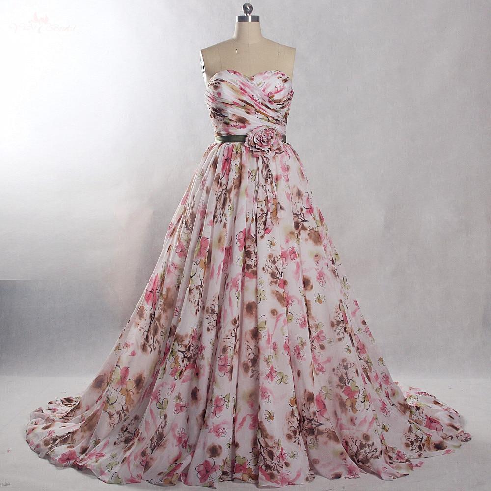 Abiti Da Sposa Colorati.Rsw845 Real Pictures Simple Printed Fabric Pattern Wedding Dress