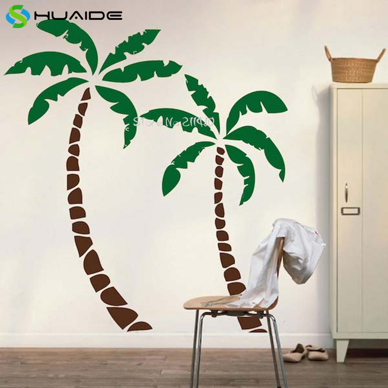 2pcs Palm Tree Wall Decals Large Size Tree Wall Sticker Home Decor Living  Room Removable Custom Color Vinyl Wall Art Mural A615 In Wall Stickers From  Home ...
