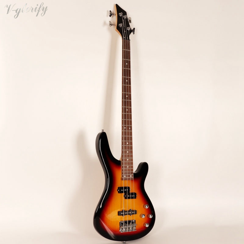 good quality 4 string electric bass guitar free foam case free shipping sunburst color in guitar. Black Bedroom Furniture Sets. Home Design Ideas