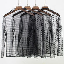 Sexy Mesh Blouses Women See-through Long Sleeve Black Dot Star Striped Shirt Perspective Blouse Womens Tops dot mesh panel frilled detail blouse