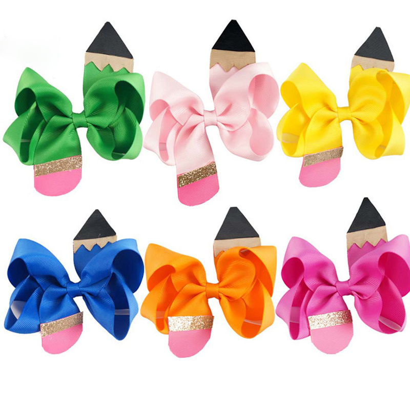 Lady's Hair Clip Sweet korean Handmade Solid Ribbon Pencil Hair Bow Cute girl Hair Accessories hair bows