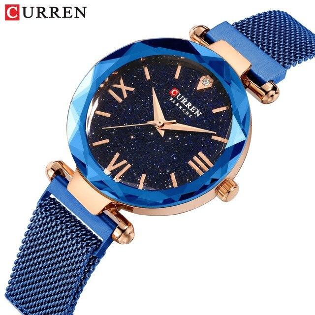 カレン高級女性はロマンチックな星空ダイヤルホットファッションステンレス鋼メッシュ腕時計レディースブレスレット腕時計ギフト