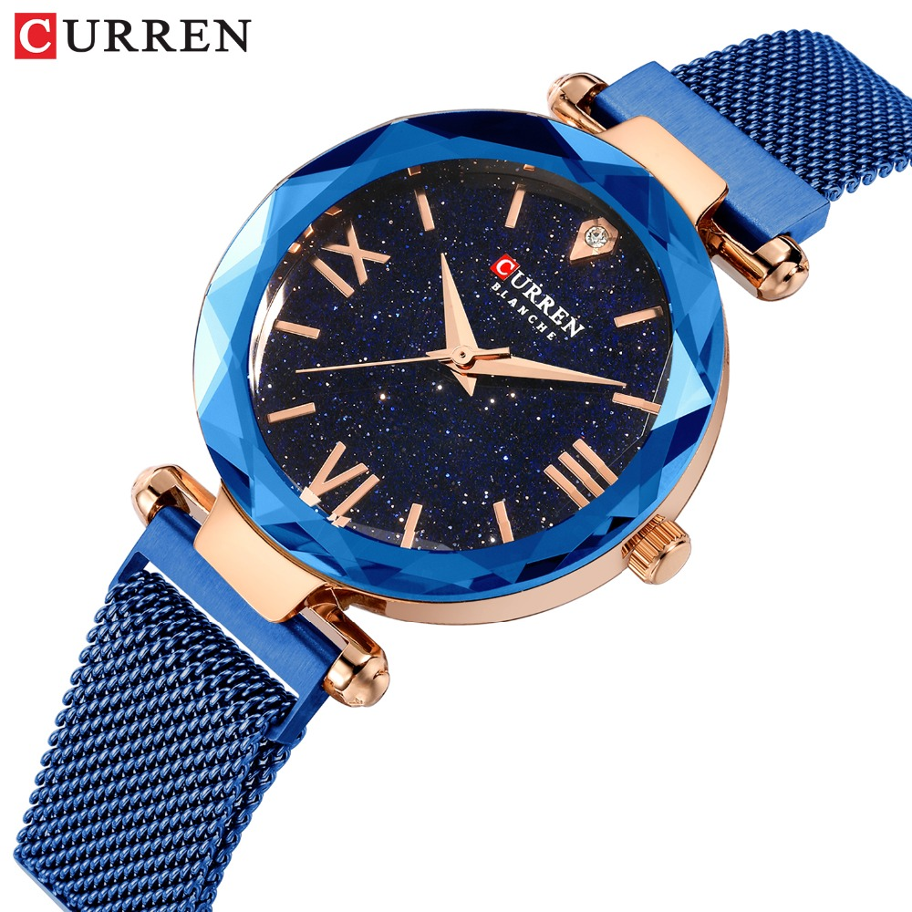 CURREN Luxury Women Watches With Romantic Starry Sky Dial Hot Fashion Stainless Steel Mesh Wristwatch Ladies Bracelet Watch Gift