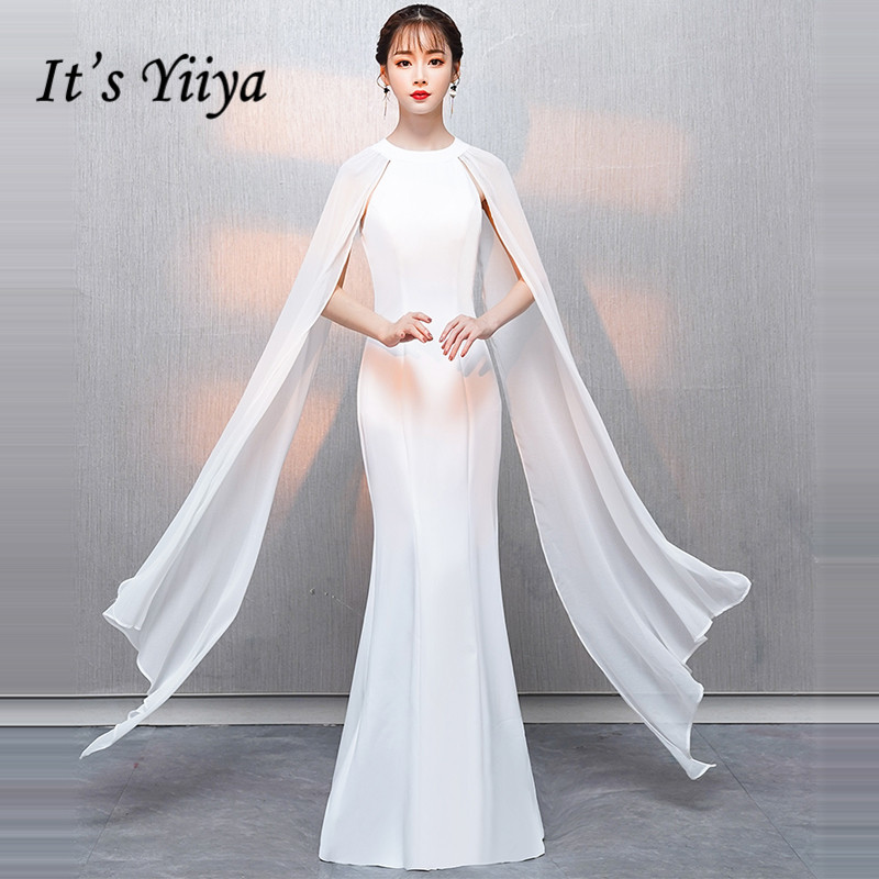 989a16183c080 US $61.44 39% OFF|It's YiiYa Evening Dress 2019 Shawl Sleeveless O neck  White Zipper Floor length Trumpet Formal Dress XH006 robe de soiree-in  Evening ...