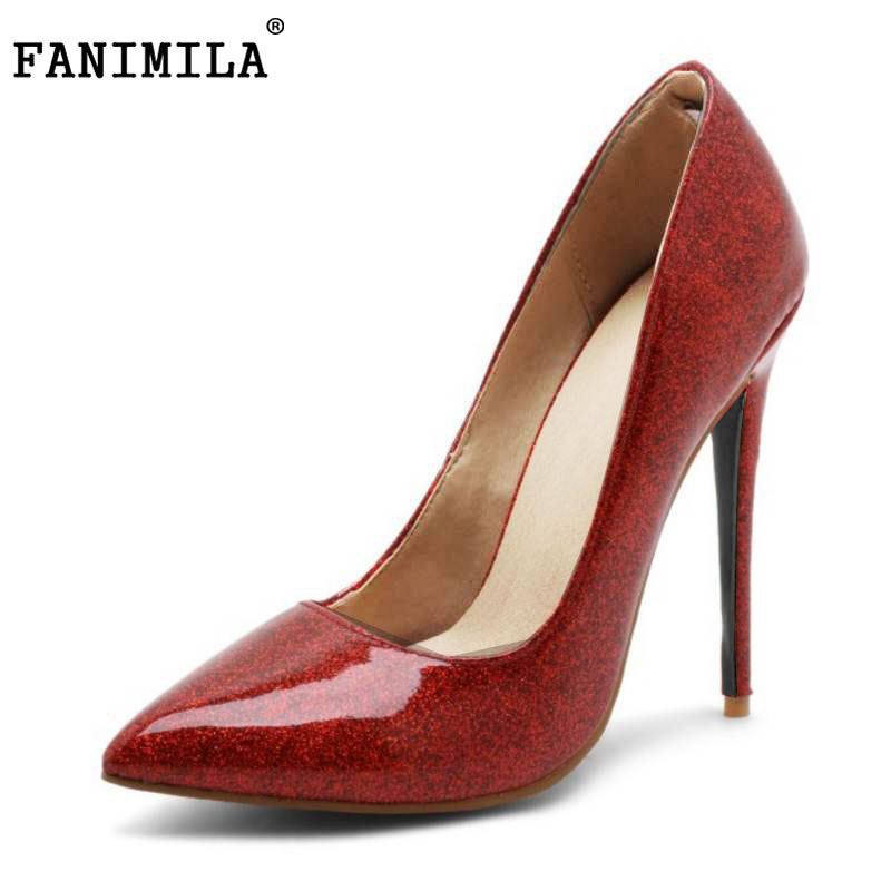 FANIMILA Size 33-48 Patent Leather Women High Heels Shoes Pointed Toe Party Thin Heel Sexy Pumps Office Lady Zapatillas Mujer doratasia denim eourpean style big size 33 43 pointed toe women shoes sexy thin high heel brand design lady pumps party wedding