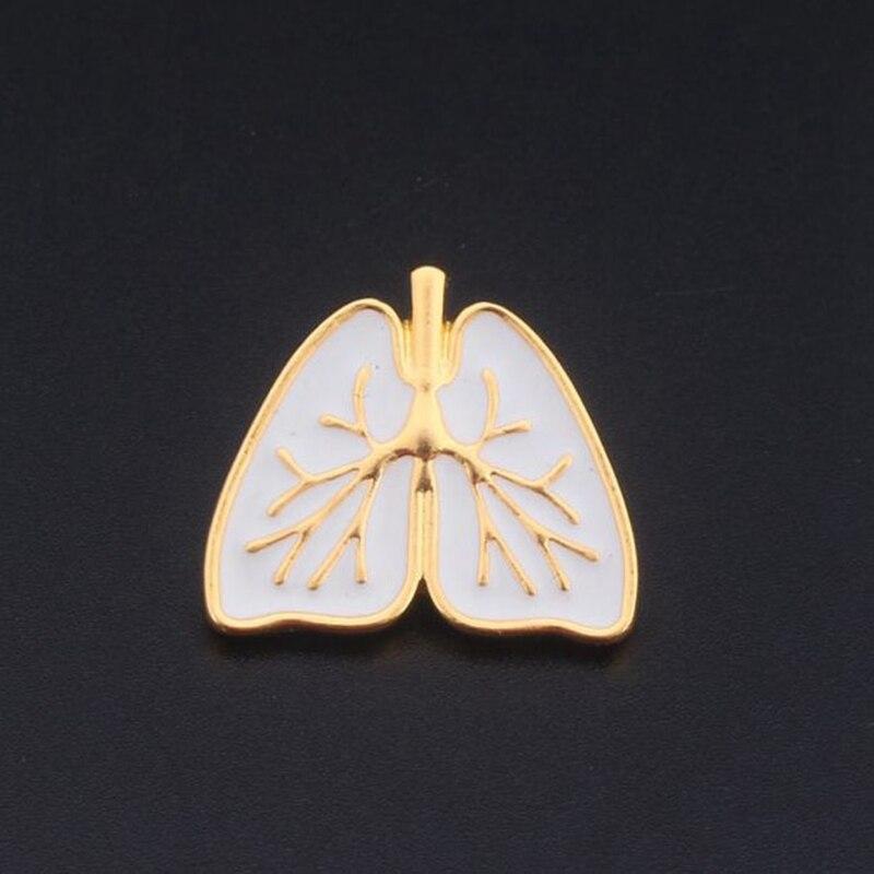 Сердце Брошь бело-золотые эмаль Анатомия человека Органы сердце Broches контакты ювелирной эмалью медицинские анатомические штырь