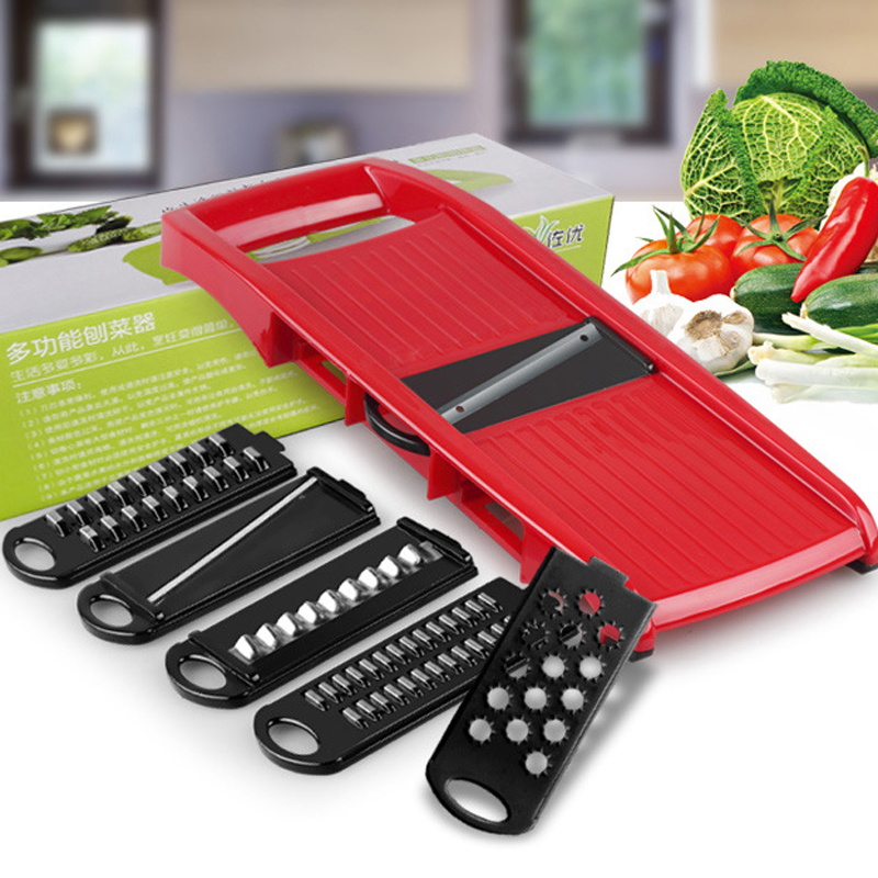 Mandoline Vegetable Slicer with 6 Adjustable Blades Potato Cutter Garlic Graters Carrot Julienne + Ceramic Peeler * 1