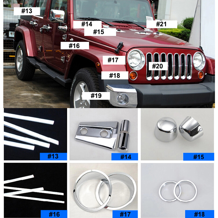 Abs Chrome Cover Stickers For Jeep Wrangler 2 4 Doors 08