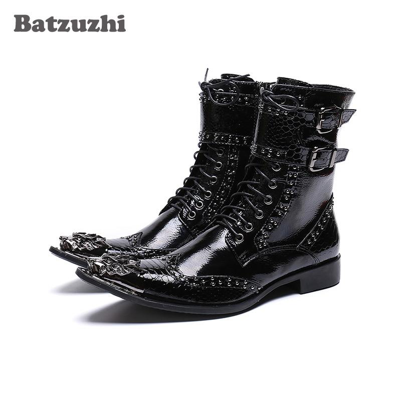 c1bb4e205b4 Batzuzhi Handmade Boots Men Black Leather Ankle Men Boots Pointed Iron Toe  Motorcycle boots Men zapatos de hombre Military Shoes