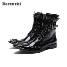 Batzuzhi Handmade Boots Men Black Leather Ankle Men Boots Pointed Iron Toe Motorcycle boots Men zapatos de hombre Military Shoes zyyzym men boots leather plus size knight boots man lace up men ankle boots brithsh motorcycle boots for men zapatos de hombre