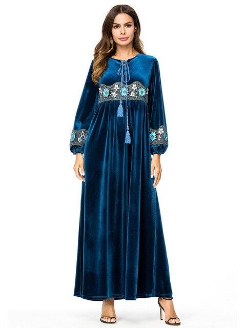 2f4204de19e0f Muslim women long sleeves velvet embroidery Dubai Dress maxi abaya jalabiya  islamic women clothing robe kaftan Moroccan 7300-in Islamic Clothing from  ...