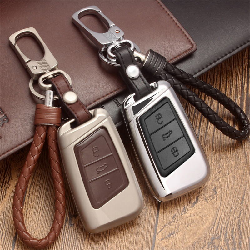 For Volkswagen VW Arteon Tiguan MK2 Passat B7 B8 CC For Skoda Superb A7 Leather Car Key case Remote Cover keyring keychain chain