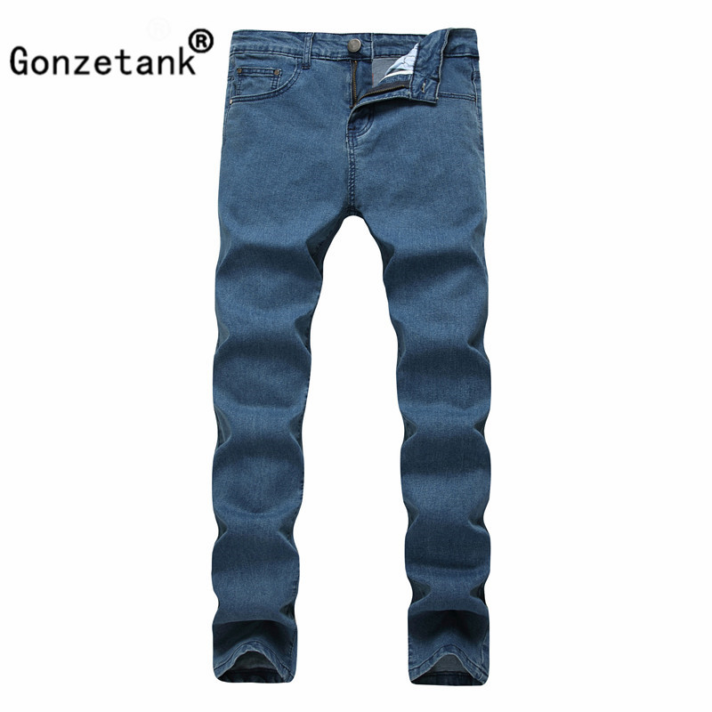 Gonzetank 2017 Blue Elasticity Jeans Pants for Men Classical and Straight  Boyfriend  Narrow for Middle Waisted Size 28~42