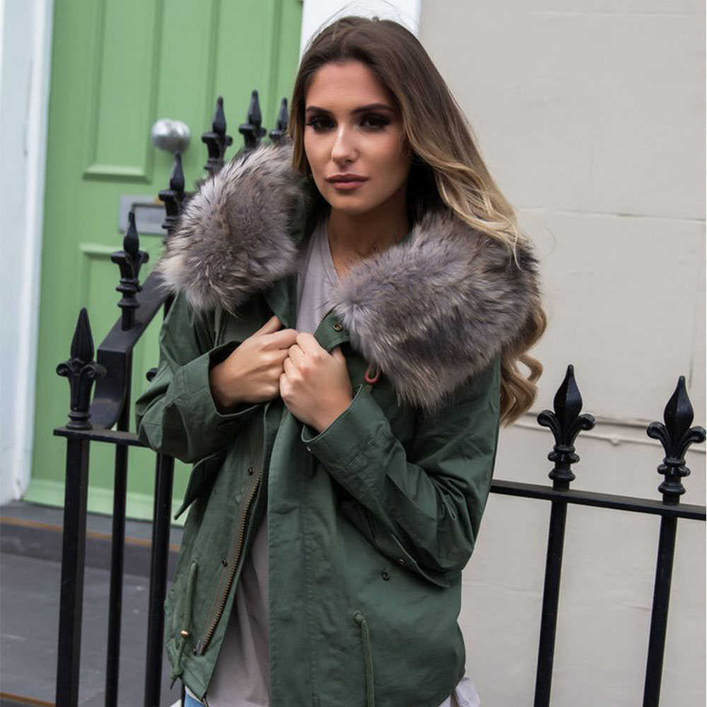 2019 BFFUR Women Clothing Real Fur Coat   Parka   With Natrual Fur Lining Female Autumn Winter Jacket Raccoon Fur Coat Park With Fur