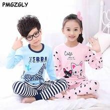 Children's Pajama Sets 2 pc Shirt+Pants Cotton 3 to 7 Year Kids Girls Pajamas Sets Sleepwear Home Clothing Winter Pajama Set