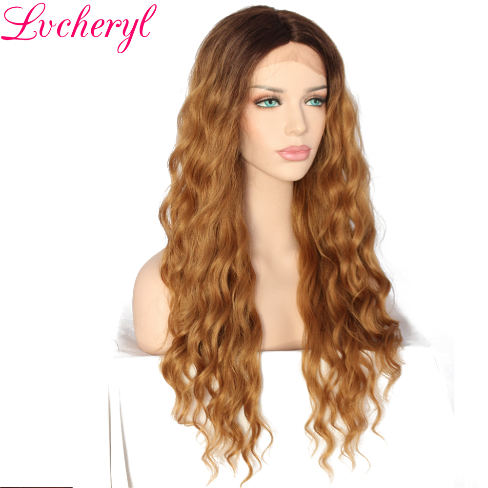 Lvcheryl Hand Tied Ombre Dark Brown Roots To Blonde Deep L Parting Heat Resistant Fiber Synthetic