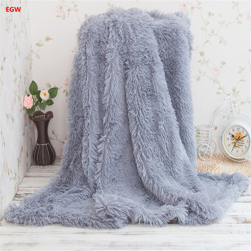 Gray pv long hair plush blanket pink fleece blankets warm soft white blue red throw on sofa/bed/plane travel decor home textile