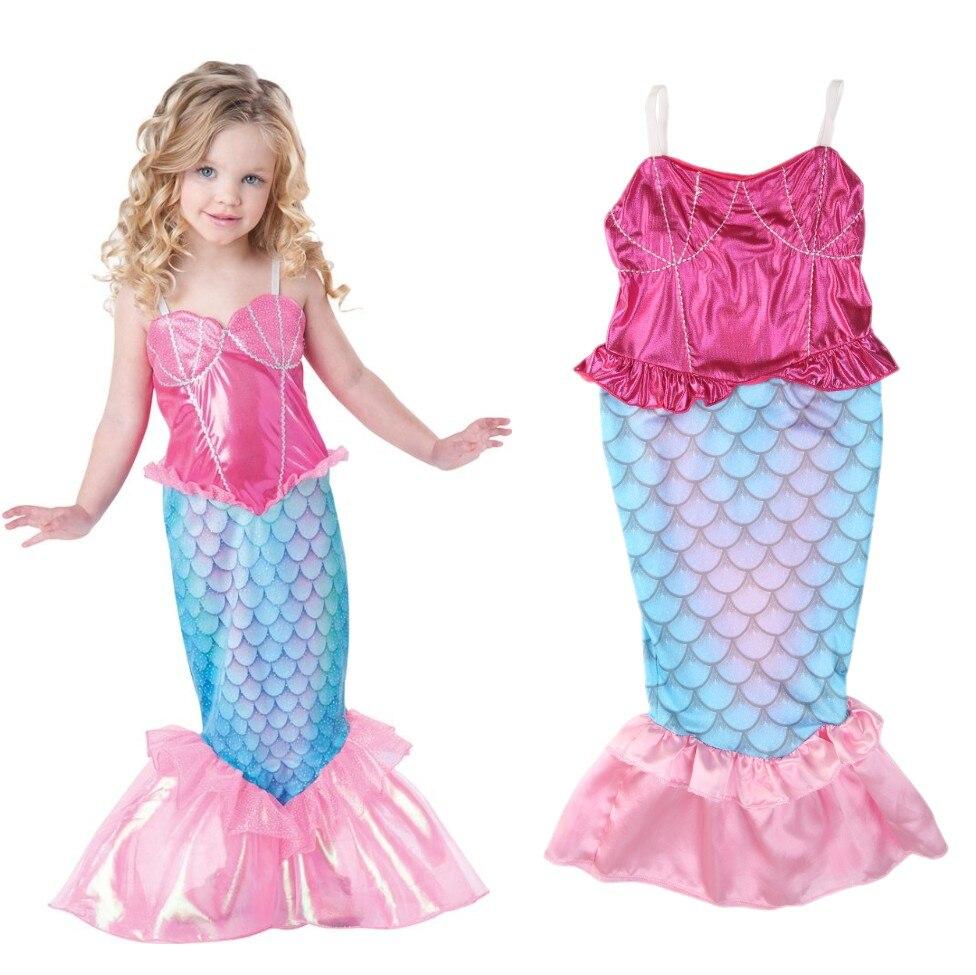 Mother & Kids Summer Girls Dress The Little Mermaid Tail Princess Ariel Dress Cosplay Beach Swimsuit Costume For Girl Fancy Halloween Dress Soft And Antislippery