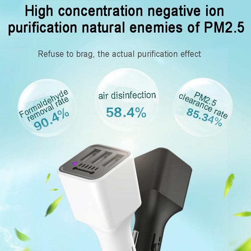 Hot Multi-Function Car Charger 3usb Negative Ion Air Purifier S80 Car Cigarette Lighter 1 For 3 3.1a