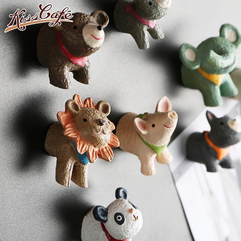 1 PC 3D Bonito Animal Dos Desenhos Animados Leão Porco Resina Ímãs de Geladeira Quadro Branco Ímãs de Geladeira Etiqueta Crianças Presente Decoração de Casa