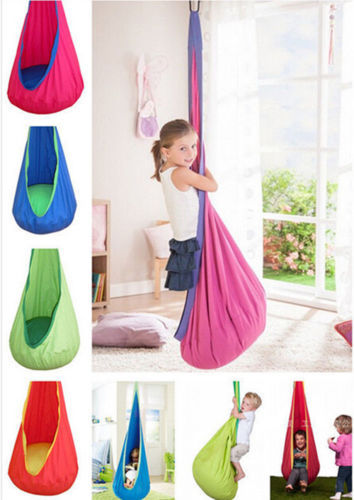 only blue colour kids swing children hammock indoor outdoor hanging chair kid relax pod swing yard garden nook tent seat hammock in patio swings from - Colour Kid