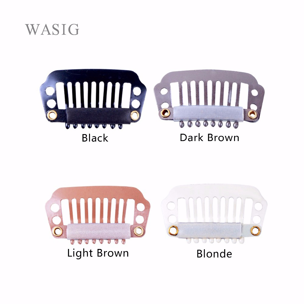 100pcs 28mm 8teeth wigs Clips with silicone back for Hair Extensions accessories 4 colors available