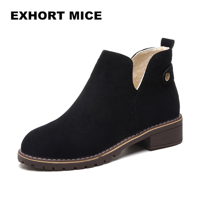 2018Women Winter Fashion Suede Leather Square Heel Bowknot Martin Ankle Boots