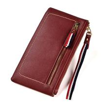 Female Wallet Women Long purse Genuine Leather Cell Phone Bag Ladies Card Holder Zipper Clutches with Wrist TW2649 sansarya 2018 tribal jacquard woven purple long women wallet boho ladies card holder aztec female purse with cupreous zipper