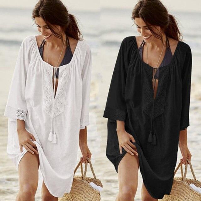 buy popular f12b6 c9076 US $10.43 43% OFF|Frauen Badeanzug Abdeckung Ups Sexy Kaftan Strand Tunika  Kleid 2019 Sommer Robe De Plage Solide Baumwolle Pareo Strand Cover Up # ...