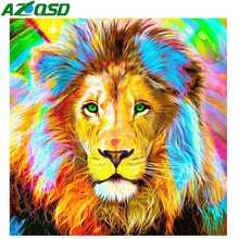 AZQSD Diamond Painting Colorful Lion Full Drill Embroidery Animal Needlework Rhionestones Pictures Handmade Gift