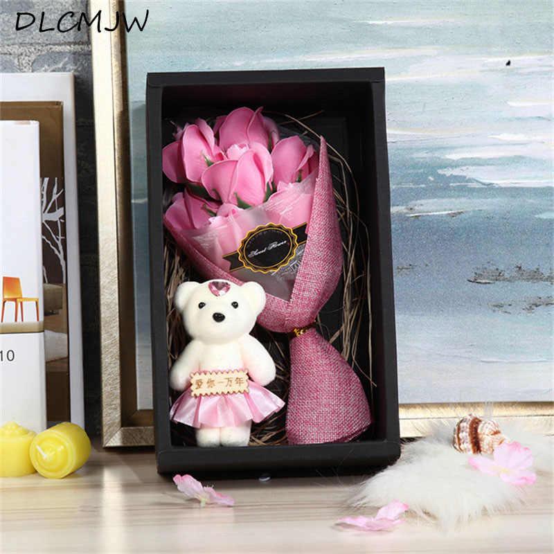 Romantic Valentines Day Rose Gift Box Creative Flower 7 Bouquet Bear Girlfriend Birthday