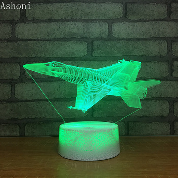 Airplane Shape 3D Table Lamp LED Touch 7 Color Changing Night Light Party Decorative Home Decor Kids Christmas Gift 3d visual 7 color changing libra shape touch led night light