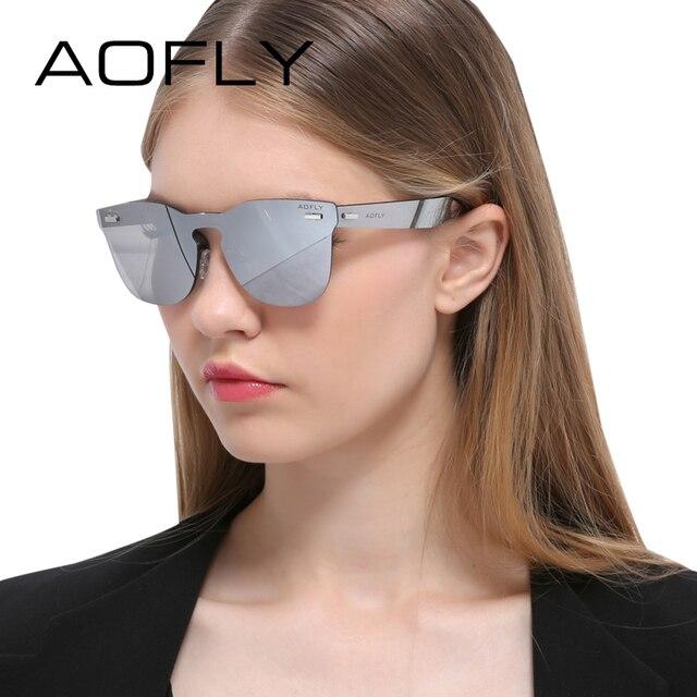 AOFLY Luxury Rimless Sunglasses Women Original Brand Designer Sun glasses Mirror Eyewear Integrated Lens lunette de soleil femme