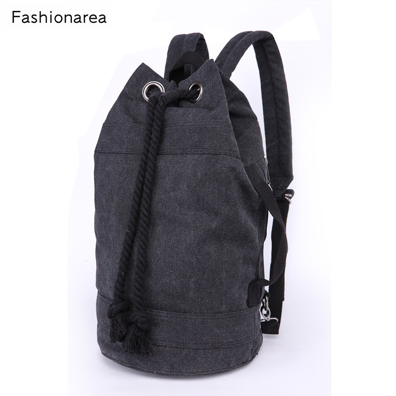 Fashion Men School Backpack Preppy Large Drawstring Male Canvas Playing Back Pack Black String Bucket Unisex Concise Schoolbag sosw fashion anime theme death note cosplay notebook new school large writing journal 20 5cm 14 5cm