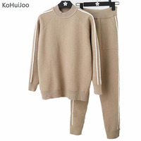 KoHuiJoo Autumn Winter Women Knit pants set two piece set Sweater Pullover+Pants Casual Women Knitted tracksuit Sporting Suits