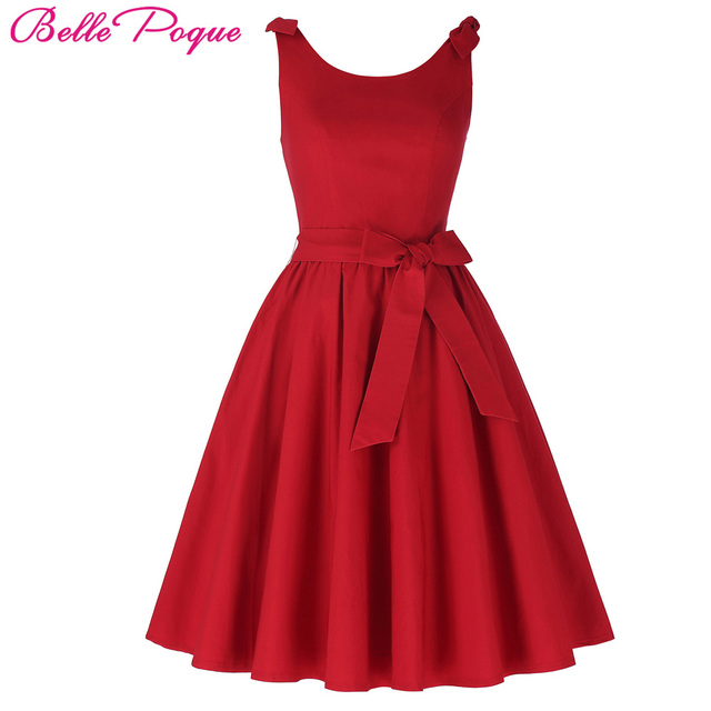 Belle Poque Women Summer Dress 2018 Red Elegant Retro Vestidos Casual Swing Robe  Vintage Rockabilly Sleeveless 50s 60s Dresses 978f1b72d978