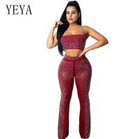 YEYA 2 Piece Set Sparkly Rhinestone Strapless Mesh Jumpsuit Sexy Sleeveless Backless See Through Wide Leg Pants Sheer Romper