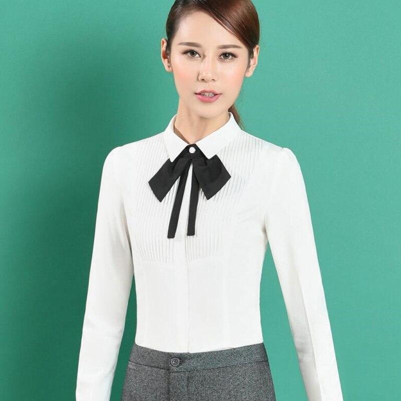 Corte Plus Shirt Nueva Oficina De Larga Blanco Las Señoras Gasa La Camisa Tamaño Slim Formal Manga Elegante Blusas Primavera White Pajarita Trabajo Ropa Tops qSqwg0T