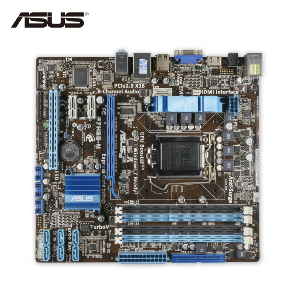Asus P7H55-M Original Used Desktop Motherboard H55 Socket LGA 1156 i3 i5 i7 DDR3 16G uATX On Sale original new desktop motherboard for asus p7h55 m usb3 h55 support socket lga 1156 i7 i5 i3 maximum ddr3 16gb sata2 2 usb3 uatx