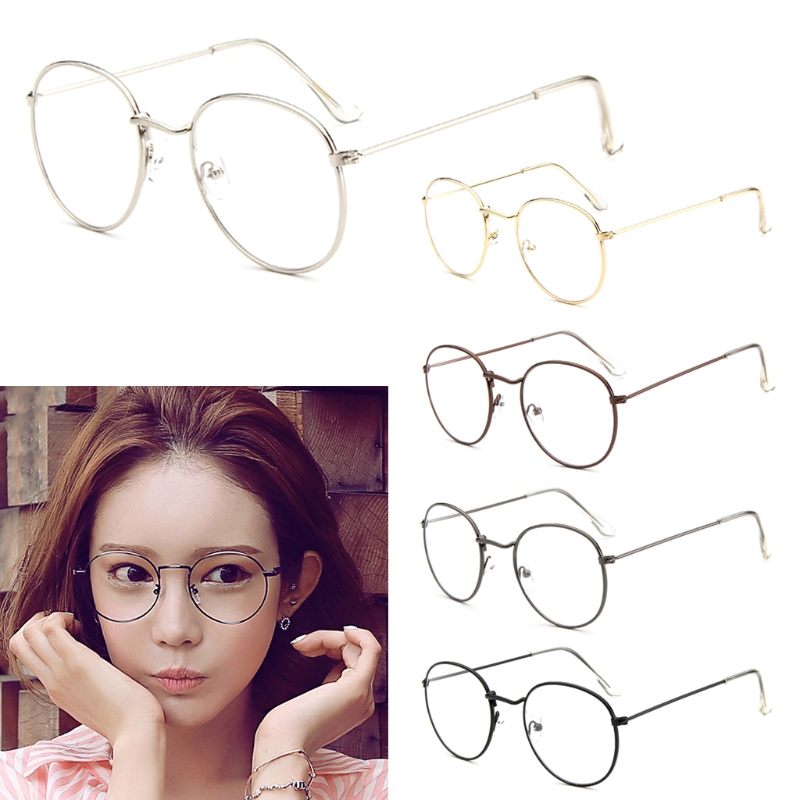 Men Women Eyeglass Metal Frame Glasses Round Spectacles Clear Lens Optical
