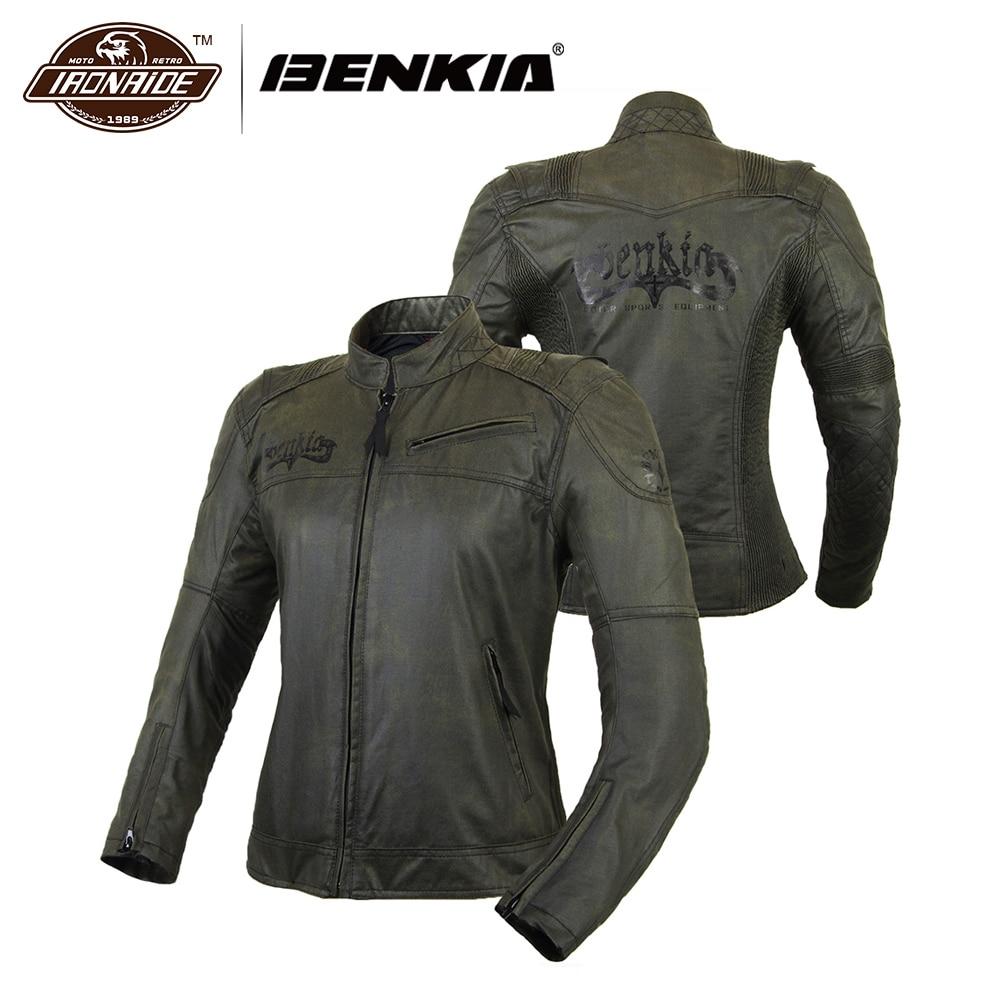 BENKIA Moto Veste Femmes Vintage Rétro Moto Vêtements Rue Cruiser Chopper Café Racer En Difficulté Moto Veste Armure