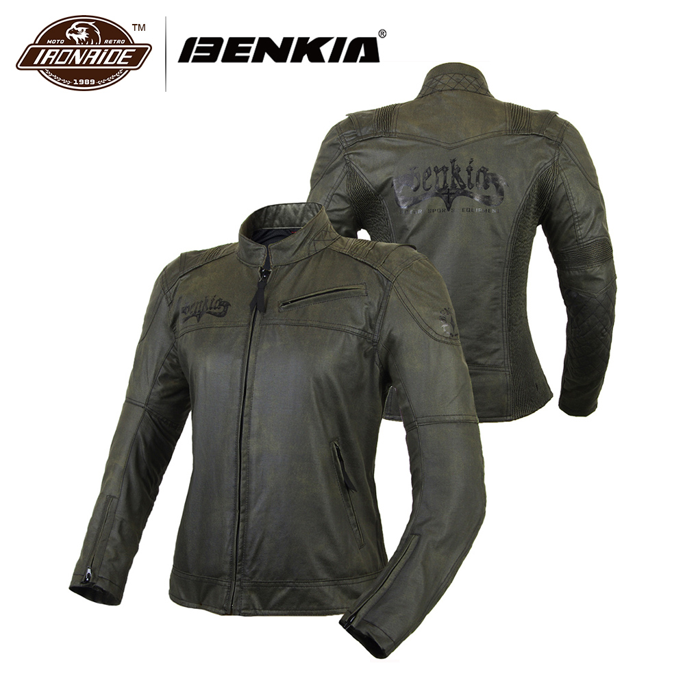 BENKIA Motorcycle Jacket Women Vintage Retro Motorbike Clothing Street Cruiser Chopper Cafe Racer Distressed Moto Jacket Armor padieoe men s genuine leather briefcase famous brand business cowhide leather men messenger bag casual handbags shoulder bags