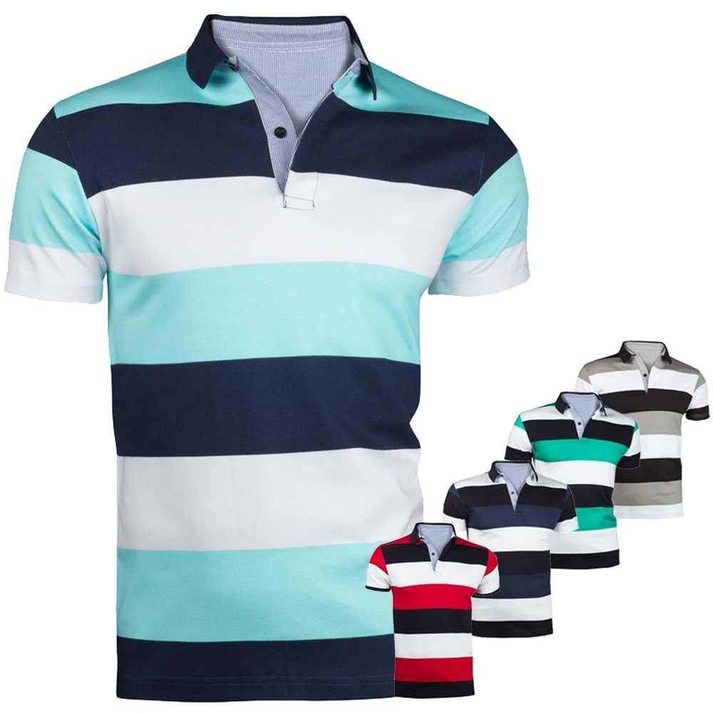 ZOGAA Men's Fashion Contrast Color Striped Polo Shirt Short Sleeve Casual Polo men short sleeve Anti-Shrink Contrast Color Polo