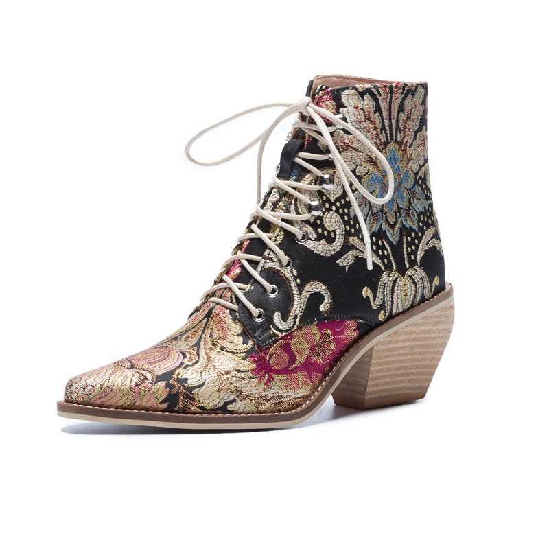 Hohe ferse stiefeletten freies verschiffen frauen schuhe winter 2019 Neue frau bestickte stiefel botines mujer botte femme bottine Blume