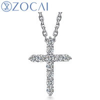ZOCAI NEW ARRIVAL BELIEF IN LOVE CROSS SHAPE REAL 0.25 CT DIAMOND PENDANT 18K WHITE GOLD WITH 18K WHITE GOLD NECKLACE D04589