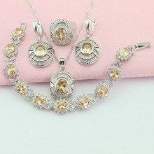Amarillo orange joyería de sistemas de la joyería de piedra de color plata pulsera anillos pendientes gargantilla colgante para las mujeres caja de regalo libre