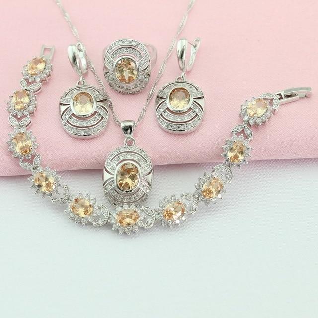 Yellow Orange Stone Silver Color Jewelry Sets Children's Jewelry Bracelet Rings Earrings Choker Pendant For Women Free Gift Box